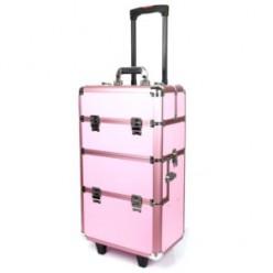Kufer kosmetyczny duży 2cz z kołami dk1b różowy