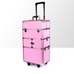Kufer kosmetyczny duży 2cz z kołami dk2 różowy