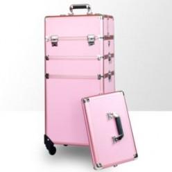 Kufer kosmetyczny duży 3cz z kołami dk2w różowy