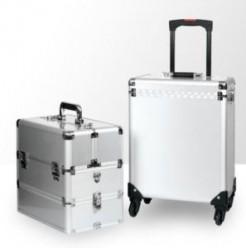 Kufer kosmetyczny duży 3cz z kołami dk2w srebrny