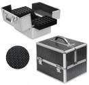 Rozkładany kuferek kosmetyczny - czarny z cyrkoniami