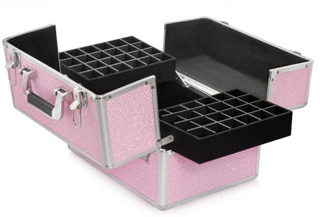 Rozkładany kuferek kosmetyczny - różowy z cyrkoniami (NEON PINK)