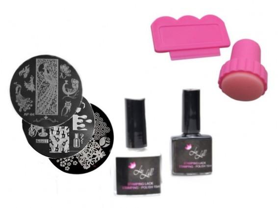 Zestaw duży do stemplowania paznokci manicure