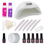 Zestaw do hybryd manicure paznokci z lampą UV
